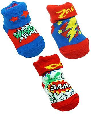 Baby Superhero Wham Bam Bootee Socks Zap Shoes Newborn 6 to 12 Months
