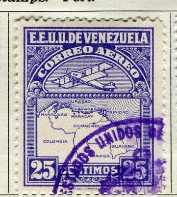 VENEZUELA;  1930 early AIR issue fine used 25c. value
