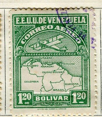 VENEZUELA;  1930 early AIR issue fine used 1.20B. value
