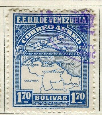 VENEZUELA;  1930 early AIR issue fine used 1.70B. value