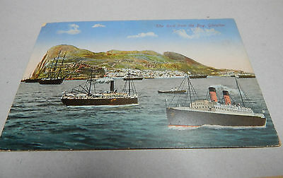 Vintage card Gibralter with ships in the harbour unposted. art