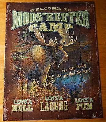 WELCOME TO MOOSKEETER CAMP Rustic Moose Lodge Log Cabin Home Decor Sign - NEW