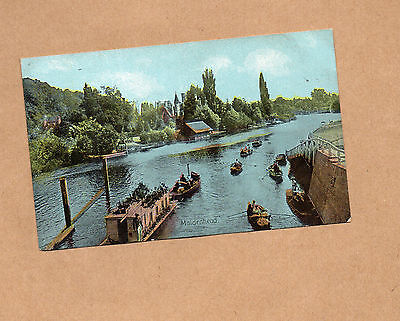 Maidenhead River view Tinted card unposted with message  BR1