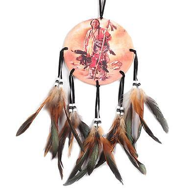 Oil Painting Style Dream Catcher With Feather Wall Hanging Home Car Decor Craft