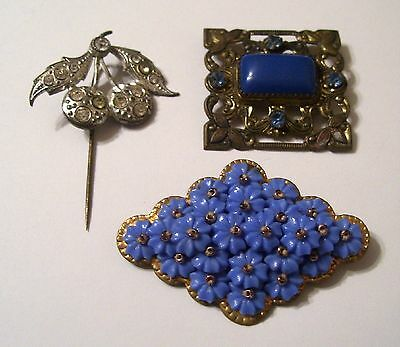 Vintage Lot of 3 Victorian Rhinestone Brooches Cherry Stick Pin NICE