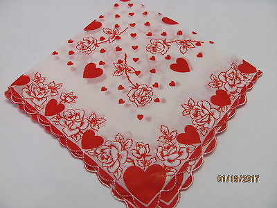 Gorgeous Vintage Valentine Hanky - Red Hearts & Roses - Hand Painted - With Tags