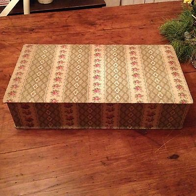 Antique French Fabric Covered Box  Large Size Paris Floral Vintage