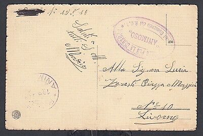 Italy 1916 Military Censored Cattle Herding Postcard To Livorno