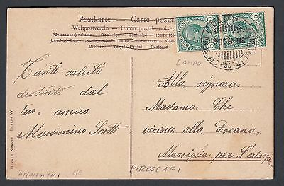Italy 1908 Panorama Of The Tomb Of Virgil In Naples Postcard Lampo Ship Cancel