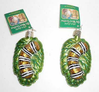 Old World Christmas FUZZY CATERPILLAR 2 New Glass Ornaments OWC Merck Family