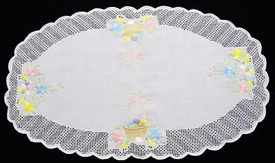 "Exquiste 15""x26"" Hand~Embroidered Oval Easter Table Runner W/drawn Thread Work"