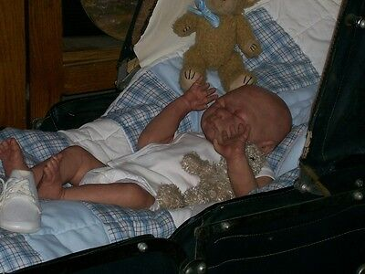 OOAK CLAY baby doll Helen Connors sweet BOY 'one of a kind' NEWBORN size