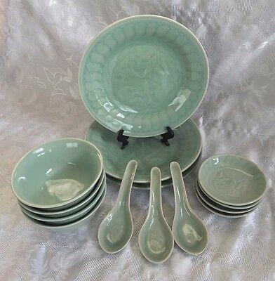 Chinese Celadon Green Embossed Koi Fish Plates Bowls Spoons Lot of 14