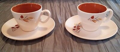 "Vintage TAYLOR SMITH & TAYLOR ""AUTUMN HARVEST"" TWO 2 Cups & Saucers EXC"