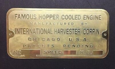 NEW IHC Famous Hopper Cooled Etched Brass Tag  Antique Gas Engine Hit And Miss