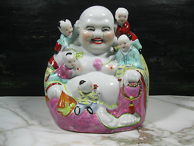 MASSIVE CHINESE EARLY 20th C REPUBLIC FAMILLE ROSE PORCELAIN BUDDHA MARKED OLD