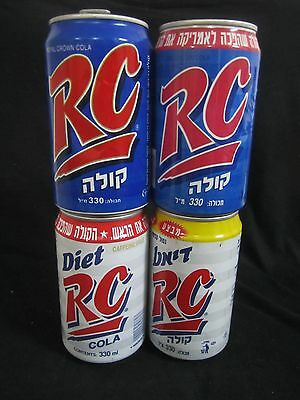 RC cola  ISRAEL : 4 X  330ml  empty cans,  israel, from the 90's.