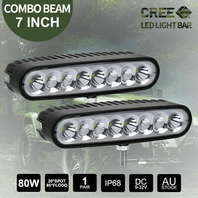 Pair 7 inch 80W CREE LED Light Bar SPOT FLOOD Reverse Work Driving Fog 12V 24V