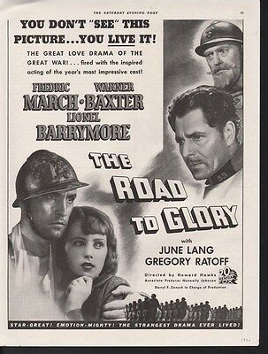 1936 The Road To Glory March Baxter Lionel Barrymore Movie War Film Ad  15173