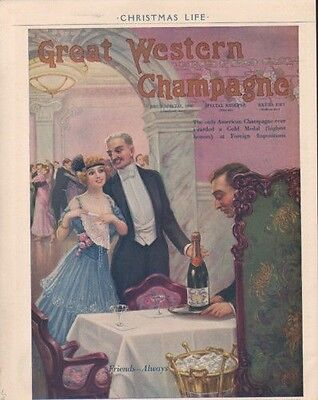 1915 Great Western Champagne Blonde Girl Blue  Party Ad7444