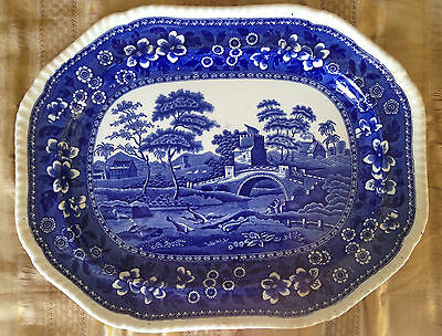 ANTIQUE Copeland Spode's Tower Willow Pattern serving dish 1910 17 1/4 x 13 1/2""