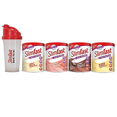 SlimFast 4-Pack Multiple Flavours Shake Powder with Mixball Shaker Weight Loss