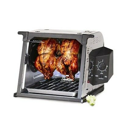 Countertop Rotisserie Oven Stainless Steel Perfect Cooked Chicken Roasts Burgers