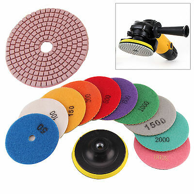 "11Pcs 4"" inch 100mm Wet/Dry Diamond Polishing Pads Set Granite Concrete Marble"