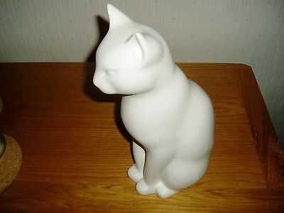 """Pure white sitting up cat figure 12"""" high"""