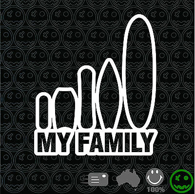 My Family Surf Sticker Decal 160mmH Surfing Snowboard boogie board