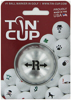 Tin Cup. Golf Ball Marker System. Alpha Players Letter R