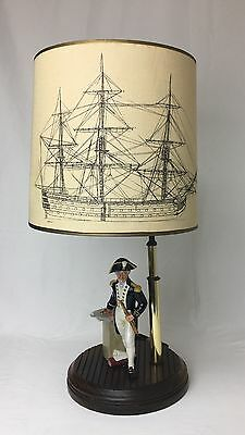 "Rare Vintage Royal Doulton Figurine Lamp, ""The Captain"" HN2260 w/ Original Shade"