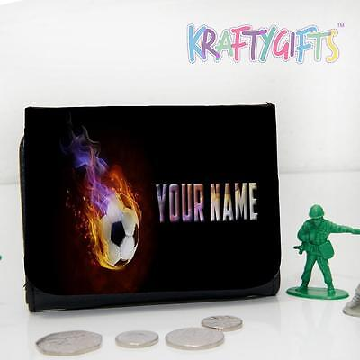 Personalised Flame Football Fire Boys Childrens Lunch Wallet Money Gift ST472