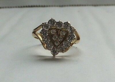 White Sapphire Heart 14ct Yellow Gold Ring Perfect Valentines