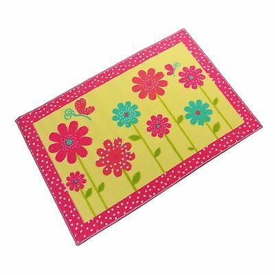 Childrens Girls Daisy Flower Floral Yellow  Anti Slip Bedroom Rug Mat 60 X 90Cm