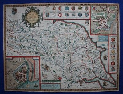 NORTH & EAST RIDINGS OF YORKSHIRE, JOHN SPEED, original antique map, c.1676