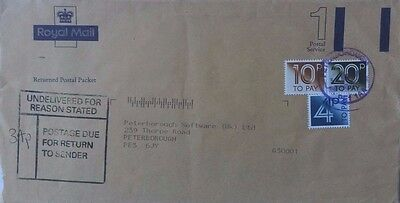 Great Britain 1995 Royal Mail Returned Postal Packet Cover With Postage Dues