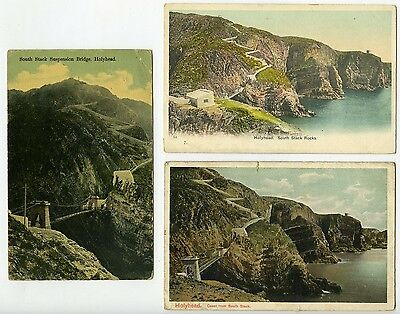 ANGLESEY Holyhead 3 Postcards South Stack Rocks and Suspension Bridge pre 1914.