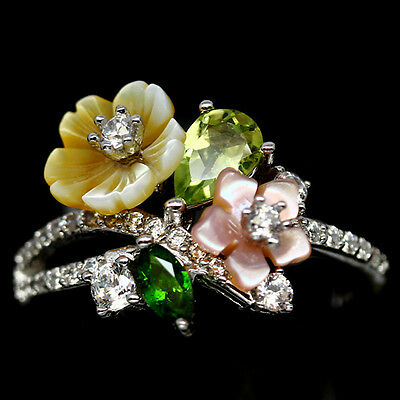 Impressive! Real! Green Peridot, Diopside..sterling 925 Silver Ring Size6.5