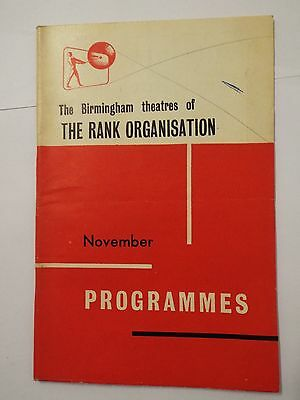 The Birmingham Theatres Of The Rank Organisation November Programmes 1960`s