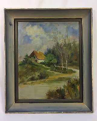 Antique 1918 Cottage By Stream Landscape Oil Painting On Board Signed