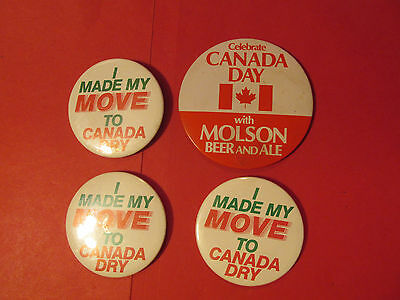 Lot 4 Canada Dry & Molson beer button Pin I made my move soada party mixed drink
