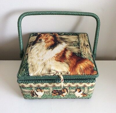 Lovely Padded Square Sewing Box Basket Sheep Dog Country Scene