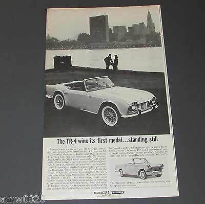 TRIUMPH TR-4 HERALD CONVERTIBLE 1962 VINTAGE PRINT AD 1st GOLD MEDAL CARS CANADA