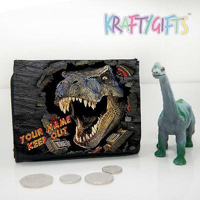 Personalised Dinosaur T-rex Jurassic Park Boys Childrens Lunch Wallet Money Gift