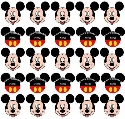 25 Mickey Mouse Edible Wafer Card Paper Cupcake Cake Toppers Decoration Personal