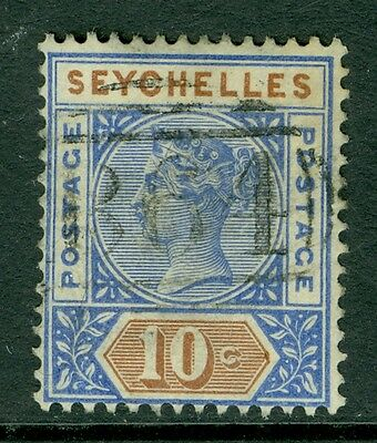 SG 4 Seychelles 10C Ultra & Brown, Fine used CAT £40