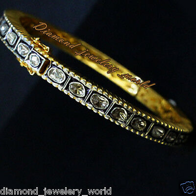 Vintage Estate 3.01cts Antique Cut Diamond .925 Sterling Silver Jewelry Bangle
