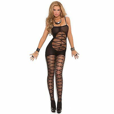 UK SELLER Bodystocking BodysuitsTeddy Cami Slip  Lace Sheer Fishnet Lingerie