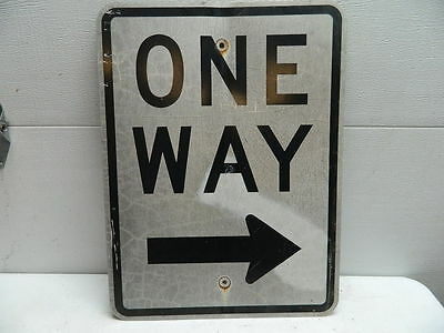 Vintage Retired Aluminum One Way City Street Sign
